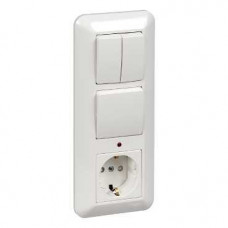 ПРИМА С/У Белый Блок: Розетка с/з + Выключатель 1-кл.с подсветкой + Выключатель 2-кл. (в сборе) (опт.упак.) | BK2VR-007A-B | Schneider Electric