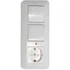 ПРИМА С/У Белый Блок: Розетка с/з с защитными шторками +Выключатель 1-кл.+Выключатель 1-кл. с подсветкой 193x81x53 мм (в сборе) (опт.упак.) | BK2VR-00