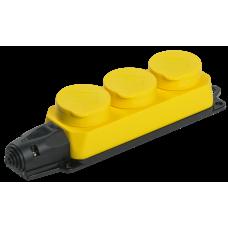 РБ33-1-0м Розетка трехместная ОМЕГА IP44 жёлтая | PKR61-016-2-K05 | IEK