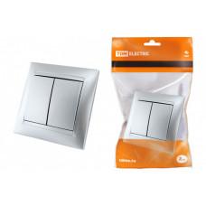 Выключатель 2-х кл. 10А серебр. металлик