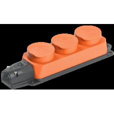 РБ33-1-0м Розетка трехместная ОМЕГА IP44 оранжевая | PKR61-016-2-K09 | IEK