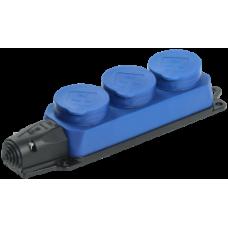 РБ33-1-0м Розетка трехместная ОМЕГА IP44 синяя | PKR61-016-2-K07 | IEK