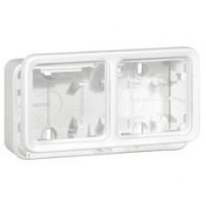 Plexo Arctic Антибактериальный Белый Монтажная коробка 2-ая горизонтальная для наружного монтажа IP55   070742   Legrand