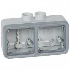 Plexo Серый Коробка 2-ая для наружного монтажа с 2 каб.вводами ISO20 горизонтальная IP55 | 069678 | Legrand