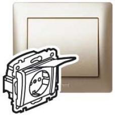 Galea Life Титан Розетка с/з с защитными шторками с крышкой (мех. + лиц.панель) | 771464 | Legrand