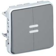 Plexo Серый Переключатель 2-клавишный с подсв. IP55 | 069526 | Legrand