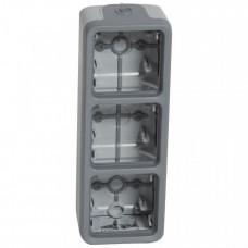 Plexo Серый Коробка 3-ая для наружного монтажа вертикальная IP55 | 069679 | Legrand