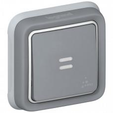 Plexo Серый Выключатель 1-клавишный с подсв. кнопочный (НО+НЗ- контакт) внутренний монтаж (в сборе) IP55   069821   Legrand