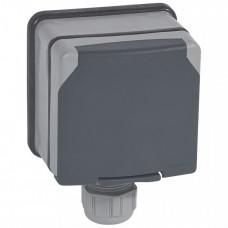 Plexo Серый Розетка 3К+3 с защитными шторками 20A 400В (в сборе) IP66   090456   Legrand