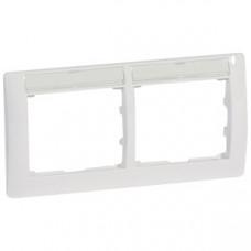 Galea Life Белый Рамка 2 поста горизонтальный монтаж с держателем этикеток | 771014 | Legrand
