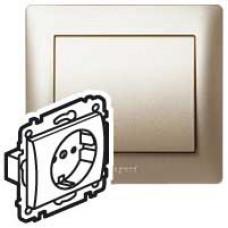 Galea Life Титан Розетка 1-ая с/з с накладкой, с защитными шторками | 771463 | Legrand