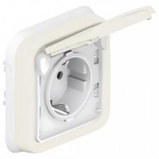 Plexo Белый Розетка с/з с крышкой винтовой зажим внутренний монтаж (в сборе) IP55   069869   Legrand