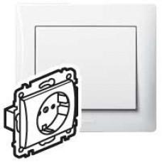 Galea Life Белый Розетка с/з с защитными шторками (мех. + лиц.панель) | 771063 | Legrand