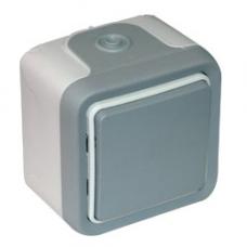 Plexo Серый Переключатель промежуточный (перекрёстный) наружный монтаж 10А (в сборе) IP55   069716   Legrand