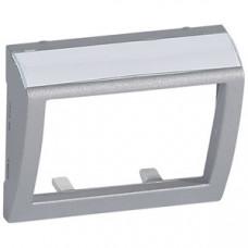 Galea Life Алюминий Лицевая панель с выходом 60 град. для волоконно-оптической розетки с держателем этикеток   771384   Legrand