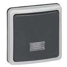 Plexo Серый Выключатель 1-клавишный кнопочный с подсв. встраиваемый 10А IP66   090482   Legrand