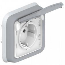 Plexo Серый Розетка с/з с крышкой 2К+З 16А 230В винтовой зажим внутренний монтаж (в сборе) IP55   069833   Legrand