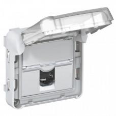 Plexo Серый/Белый Розетка RJ 45 кат. 5е FTP IP55 с закрытым клапаном IP55 IK 07 - LCS2 | 069557 | Legrand