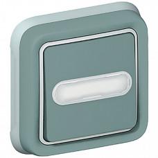 Plexo Серый Выключатель 1-клавишный с подсв. кнопочный с шильдиком внутренний монтаж (в сборе) IP55   069824   Legrand