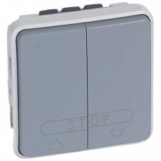 Plexo Серый Двухклавишный кнопочный выключатель для систем с электронным блоком управления 10А IP55 | 069539 | Legrand