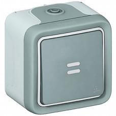 Plexo Серый Выключатель 1-клавишный кнопочный с подсв. (НО-контакт) наружный монтаж 10А (в сборе) IP55   069722   Legrand