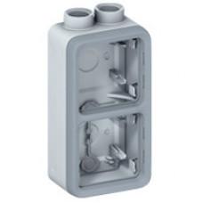 Plexo Серый Коробка 2-ая для наружного монтажа с 2 каб.вводами PG вертикальная IP55 | 069664 | Legrand