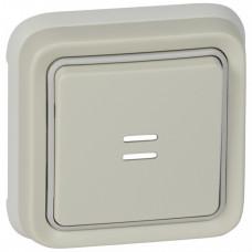 Plexo Белый Выключатель 1-клавишный с подсв. кнопочный (НО+НЗ- контакт) внутренний монтаж (в сборе) IP55   069861   Legrand