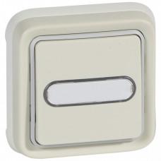 Plexo Белый Выключатель 1-клавишный с подсв. кнопочный (НО+НЗ- контакт) встраиваемый с держ. Этикетки IP55   069864   Legrand