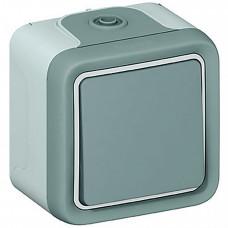 Plexo Серый Выключатель кнопочный 1НО наружный монтаж 10А (в сборе) IP55   069720   Legrand