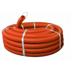 Труба гибкая гофрированная ПНД 40мм с протяжкой Plast (25м) оранжевый | tpnd-40-o | EKF