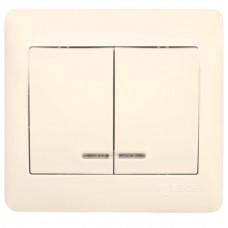 София Выключатель 2-клавишный с индикатором,10А, бежевый EKF Simple   ELV10-123-20   EKF