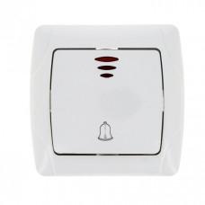 Мадрид Кнопка звонка 1-клавишный с индикатором 10А белый EKF | EIZ10-126-10 | EKF