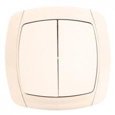 Париж Выключатель 2-клавишный 10А бежевый EKF Simple | ESV10-023-20 | EKF