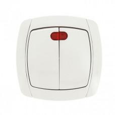 Париж Выключатель 2-клавишный с индикатором 10А белый EKF Simple | ESV10-123-10 | EKF
