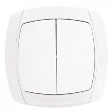 Париж Выключатель 2-клавишный 10А белый EKF Simple | ESV10-023-10 | EKF