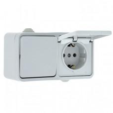 Блок розетка-выключатель 1-кл. 16А с/з с крышкой IP44 белая Прага EKF PROxima   EKRV16-050-10-440   EKF