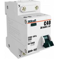 Выключатель автоматический дифференциальный ДИФ-102 1п+N 20А C 30мА тип AC | 16004DEK | DEKraft