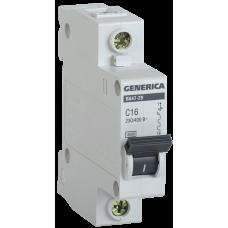 Выключатель автоматический однополюсный ВА47-29 63А C 4,5кА GENERICA | MVA25-1-063-C | IEK