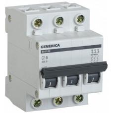 Выключатель автоматический трехполюсный ВА47-29 6А C 4,5кА GENERICA | MVA25-3-006-C | IEK
