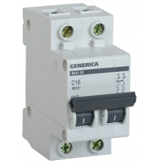 Выключатель автоматический двухполюсный ВА47-29 40А C 4,5кА GENERICA | MVA25-2-040-C | IEK