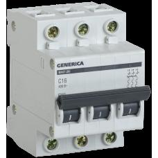 Выключатель автоматический трехполюсный ВА47-29 63А C 4,5кА GENERICA | MVA25-3-063-C | IEK