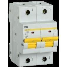 Выключатель автоматический двухполюсный ВА47-150 100А D 15кА | MVA50-2-100-D | IEK