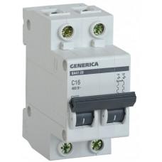 Выключатель автоматический двухполюсный ВА47-29 25А C 4,5кА GENERICA | MVA25-2-025-C | IEK