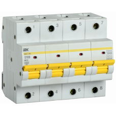 Выключатель автоматический четырехполюсный ВА47-150 100А D 15кА | MVA50-4-100-D | IEK