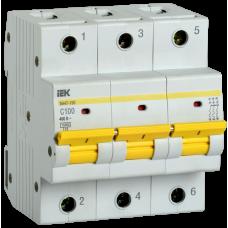 Выключатель автоматический трехполюсный ВА47-150 100А C 15кА | MVA50-3-100-C | IEK