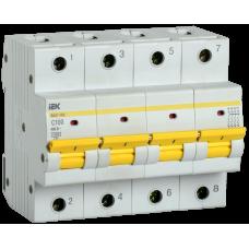 Выключатель автоматический четырехполюсный ВА47-150 100А C 15кА | MVA50-4-100-C | IEK