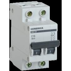 Выключатель автоматический двухполюсный ВА47-29 63А C 4,5кА GENERICA | MVA25-2-063-C | IEK