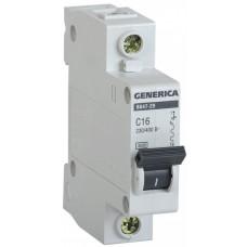 Выключатель автоматический однополюсный ВА47-29 20А C 4,5кА GENERICA | MVA25-1-020-C | IEK