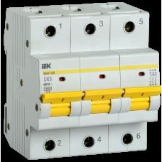Выключатель автоматический трехполюсный ВА47-150 63А D 15кА | MVA50-3-063-D | IEK