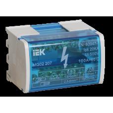Шины на DIN-рейку в корпусе (кросс-модуль) L+PEN 2х7 | YND10-2-07-100 | IEK